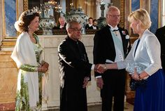 King Carl Gustaf and Queen Silvia of Sweden, Crown Princess Victoria and Prince Daniel, Prince Carl Philip's fiancée Miss Sofia Hellqvist attended a gala dinner held for India President Shri Pranab Mukherjee at the Stockholm Palace on June 1, 2015 in Stockholm, Sweden.