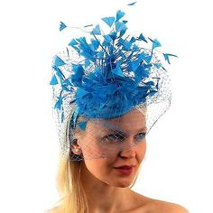 9052a91c3f44b Fascinators and Headpieces 168998  Flirty Feathers Netted Veil Fascinators  Headband Cocktail Derby Church Hat -