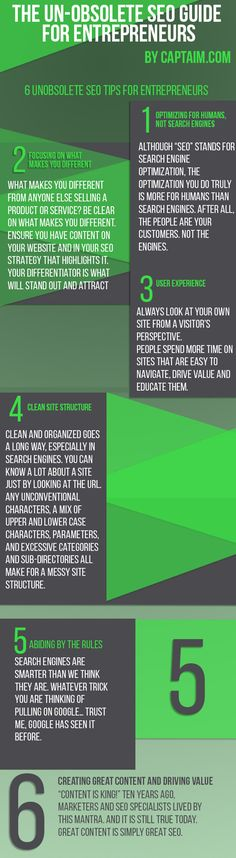 """An Infographic, """"The Un-obsolete SEO Guide for Entrepreneurs and Businesses,"""" created by by Social Media Today. Read more about the tips by clicking on pin. Marketing En Internet, Seo Marketing, Digital Marketing, Media Marketing, Affiliate Marketing, Facebook Marketing, Marketing Ideas, Online Marketing, Web Design"""