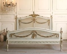 Fabulous Full Vintage French Style Bed with gorgeous caning, and oh so dreamy gilt floral swag carvings. Perfect for your guest room to give your guests the royal treatment.