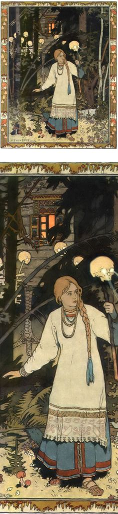 Vasilisa the Beautiful at the Hut of Baba Yaga ~ artist Ivan Bilibin  #art #illustration #mytumblr