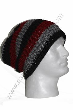 Mens Beanie Stripes for Spring and Summer- Black Stripe Beanie for Men | sariasknitncrochet - Crochet on ArtFire