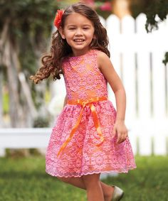 Another great find on #zulily! Hot Pink Lace Dress - Toddler & Girls by chasing fireflies #zulilyfinds