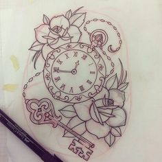 But a compass instead of watch - New Site Time Tattoos, Body Art Tattoos, Hand Tattoos, Sleeve Tattoos, Sunflower Tattoos, Sunflower Tattoo Design, Flower Tattoo Designs, Tattoo Sketches, Tattoo Drawings