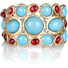 Kenneth Jay Lane 22-karat gold-plated crystal and resin cuff ($150) ❤ liked on Polyvore