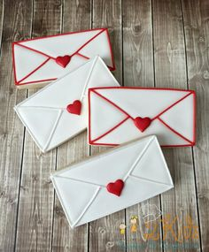 Envelope Cookie Cutter and Fondant Cutter and Clay Cutter Valentine's Day Sugar Cookies, Royal Icing Cookies, Cupcake Cookies, Cupcakes, Valentines Day Cookies, Valentines Food, Cookies For Kids, Cut Out Cookies, Creative Desserts