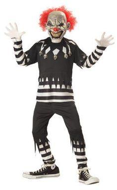 100% polyester costume Black pullover shirt has striped lower sleeves & body Zigzag collar has skulls attached Kids Clown Halloween Costume, Dark Mask, California Costumes, Creepy Clown, Boy Costumes, Kpop, Child, Skulls, Architects