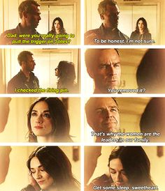 Sweet moment between daddy Argent and baby girl Argent. Teen Wolf