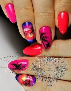 Want some ideas for wedding nail polish designs? This article is a collection of our favorite nail polish designs for your special day. Beach Nail Designs, Square Nail Designs, Sea Nails, Palm Tree Nails, Wedding Nail Polish, Bright Summer Nails, Summer Beach Nails, Vacation Nails, Gel Nails At Home