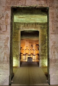 Abu Simbel (Upper Egypt), Great Rock Temple (built under Ramses II New Kingdom, 19th dynasty, c. 1260 BC; sandstone. Moved 1964–68 during creation of Lake Nasser). Interior: sanctuary with statue group Ramses II with the gods Ptah, Amon-Re and Re-Harakhte.