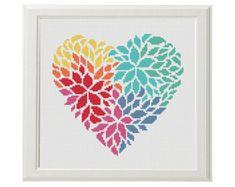 Flower Heart Cross Stitch Pattern Valentine's day Cross