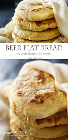 Quick Beer Flat Bread a great no yeast recipe that comes together in just 20 minutes. It's easy & a delicious pairing with any meal. Definitely a favorite. on kleinworthco.com