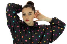 1990s Polka Dot Windbreaker Jacket 80s by neonthreadsdesigns, $35.00