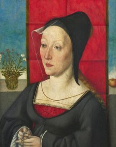 1495: Portrait of a Woman of the Hofer Family, Artist unknown. Interesting thing happening on her pleats. Also, fabulous hat!