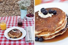 camping and blueberry pancakes