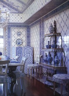 Delft tiles and blue and white pottery in a dining room designed by Mark Hampton Home decor trends.