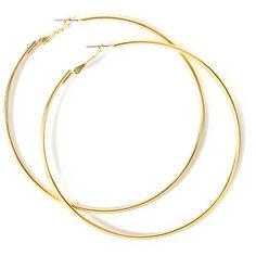 80MM Gold Hoop Earrings ($35) ❤ liked on Polyvore featuring jewelry, earrings, accessories, jewelry and accessories, rings, earring jewelry, oversized earrings, gold jewellery, snap jewelry and yellow gold earrings