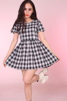 4e47f36af2 Made To Order - Black   Grey Tartan Baby Doll Dress