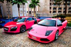 A bit abusive to a Audi R8 or Lamborghini Murciélago, to have them in hot pink.  Like, whoa.