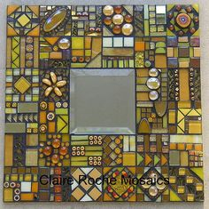 Gold Mirror - close up by Claire Roche Mosaics