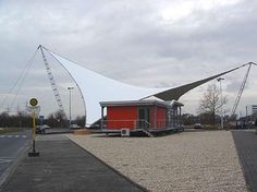 Alfred Rein Ingenieure, Eingangssegel - Industriepark Hoechst Membrane Structure, Tensile Structures, Fabric Structure, Engineering Projects, Parametric Design, Construction Design, Entrance, Shades, Architecture
