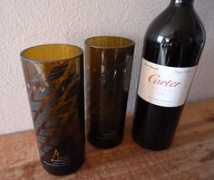 GET INSPIRED!!  Recycled Wine Bottle Glasses made from DRIVEN wine bottles by ConversationGlass, $32.00