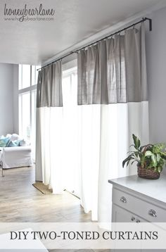 DIY Two Tone Curtains - this tutorial is a perfect idea to keep the Summer heat out of any bedroom, kitchen, or office in the home!