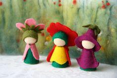 Summer Set Prime rose, foxglove, dog rose / Flower dollWaldorf Inspired natural Table doll wooden peg dolls. $21,00, via Etsy.