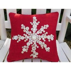 Holiday Snowflake Decor Christmas Pillow Snowflake Pillows Red Burlap... ($50) ❤ liked on Polyvore featuring home, home decor, holiday decorations, berkshire collections, integritytt, nancy, pillow, holiday decor, christmas holiday decorations and holiday home decor