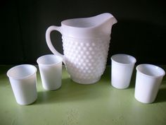 Hob Nail Milk Glass Juice Pitcher Set Glasses by InsOddsOuts