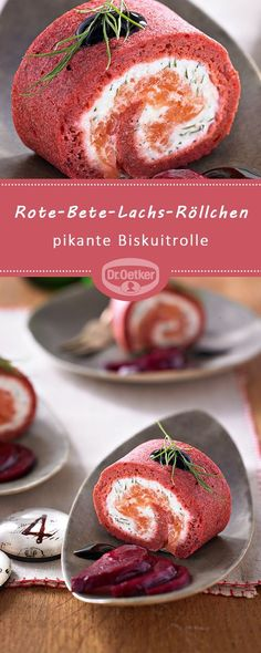 Rote-Bete-Lachs-Röllchen: Pikante Biskuitrolle mit Orangen-Crème-fraîche, Rä… Sponsored Sponsored Beetroot salmon rolls: Savory biscuit roll with orange-creme fraiche, smoked salmon and balsamic cream Oven Roasted Salmon, Smoked Salmon, Brunch Recipes, Appetizer Recipes, Snack Recipes, Savoury Biscuits, Snacks Für Party, Halloween Food For Party, Creme Fraiche