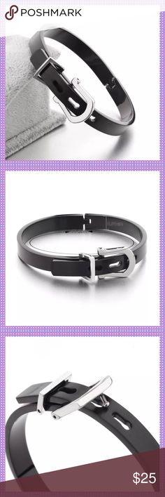 "Black Stainless Steel Buckle Bangle Bracelet ⭐️Beautiful Black Stainless Steel Buckle Bangle Bracelet. Inside circumference is 6.88"".  Opens up and buckles just like a belt, somewhat adjustable to fit most size wrists. Very trendy!⭐️PRICE IS FIRM ON THIS PIECE⭐️ Boutique Jewelry Bracelets"