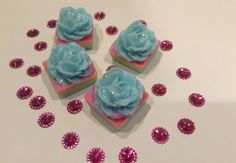 ELIXITA Party Favors SOAP Cakes Flowers Roses Glitter Baby Shower Birthday Event #ELIXITA
