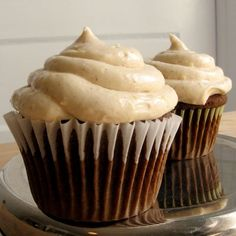 Gingerbread with cinnamon cream cheese icing.    Cupcake Ingredients   cup sugar   cup butter, softened   cup molasses  2 eggs  2 cups all-purpose flour  1 tsp baking soda   tsp salt  1 tsp ground ginger   tsp ground cinnamon   tsp ground allspice   cup water  Frosting Ingredients  1 package (8 oz) cream cheese, softened   cup but #recipes