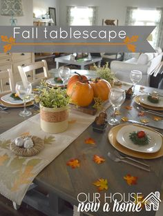 fall tablescape with simple and low cost ways to decorate for the holidays. Gold accents, rustic elements with calm and warm neutrals. A dining room ready for fall and thanksgiving. Filled with DIY and fall crafts projects.