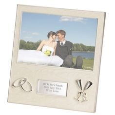 Personalised Wedding Photo Frame with Pearl Finish and your own engraved message.