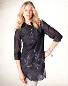 Leaf embroidered tunic