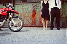 Cute engagement photo idea with motorcycle
