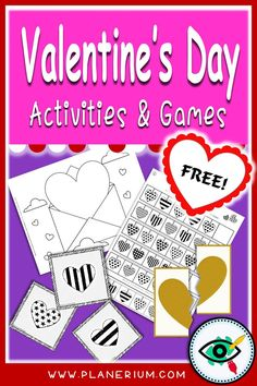 Hearts matching game, puzzle, patterns activity and coloring pages. Suitable for kindergarten and lower grades in elementary school. Free Activities For Kids, First Grade Activities, Educational Games For Kids, Valentines Day Activities, Valentines For Kids, Homeschool Kindergarten, Homeschooling, Second Grade Games, First Grade Teachers