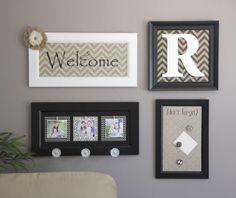 4 simple decor ideas using scrapbook paper, monogram, metal sheet, old frame