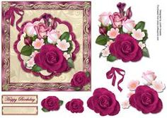 Rose Bouquet On Scalloped Panel Square Card Front