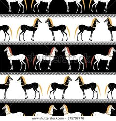 Decorative background with horse silhouette. Seamless pattern. Greek ancient style. Hand drawn illustration. Good for background, cover, fabric, textile, wallpaper.