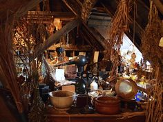 A witchy room with herbs