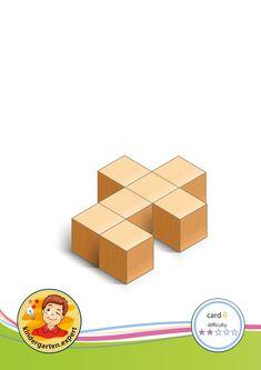 Buiding card difficulty 2 for block area, for kindergarten and preschool, kindergarten expert