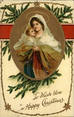 Christmas Woman Child Nativity Scene Gilt Enhanced c1910 Postcard | eBay