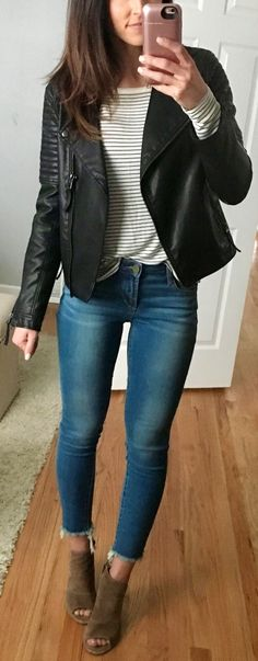 pretty spring outfits /  Black Leather Jacket / White Striped Knit / Skinny Jeans / Brown Suede Open Toe Booties