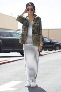 Cute Spring Outfit.  Interesting mix of stripes and camo. Love long casual dresses for Spring or Summer.