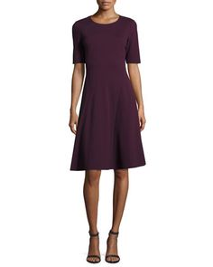 Half-Sleeve+Fit-and-Flare+Dress+by+Lafayette+148+New+York+at+Neiman+Marcus.