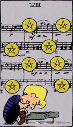 eight of pentacles, Schroder - Peanuts snoopy tarot cards - Google Search