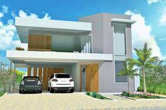 Planta de casa sobrado em L com piscina - Projetos de Casas - Modelos de Casas
